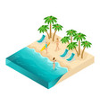 Isometric people 3d girl in bathing suits beach