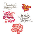 lettering collection with quotes about love vector image