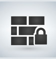 locked wall icon isolated on white background vector image vector image