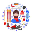 man and winter equipment vector image vector image