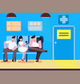 patients in doctors waiting room in hospital vector image vector image