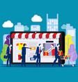 people shoping online concept with happy vector image vector image
