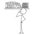 person choosing book to read from bookcase vector image vector image