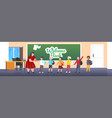pupils with teacher standing in front chalk vector image vector image
