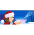 Santa girl on Christmas background vector image vector image