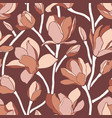 seamless pattern with blooming magnolia buds vector image