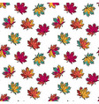 seamless pattern with colorful flat maple leaves vector image vector image