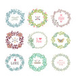 set colorful wreath vector image vector image
