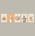 set thanksgiving banners with cute pilgrim vector image