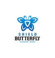 shield butterfly logo template vector image vector image