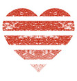 striped love heart grunge texture icon vector image vector image
