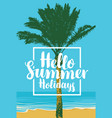 summer travel seascape with palm and inscription vector image vector image