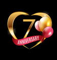 template gold logo 7 years anniversary with ribbon vector image vector image