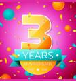 three years anniversary celebration design banner vector image