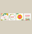 trendy easter floral square templates suitable vector image vector image