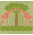 Two giraffes under tree vector image