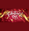 valentines day handwritten text with confetti on vector image vector image