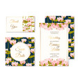 wedding invitation template set water lilly flower vector image vector image