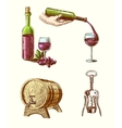 Wine sketch decorative set vector image vector image