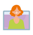 young woman video online training isolated icon vector image vector image