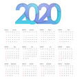 2020 happy new year calendar design happy 2020 vector image vector image
