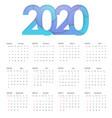 2020 happy new year calendar design happy vector image vector image