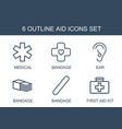 6 aid icons vector image vector image