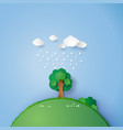 a lone tree in the field with the rain and cloud vector image vector image