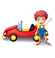 A young boy in front of a red car vector image