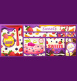 banner with inscription shop with sweets vector image