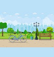 bench with tree and lantern in the park vector image