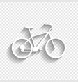 bicycle bike sign white icon with soft vector image vector image