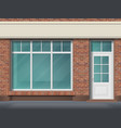 brick store front with large transparent window vector image vector image