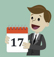 businessman or manager hold a calendar on his hand vector image vector image