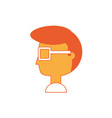 cartoon man head icon vector image vector image