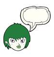 cartoon vampire girl face with speech bubble vector image vector image