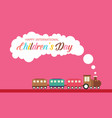 children day with train style banner vector image vector image