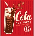 Cola drink glass in retro style vector image