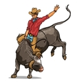 Cowboy riding a bull Isolated vector image