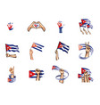 cuba flag and hand on white background vector image vector image