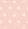 cute bunny girlish pink seamless pattern vector image vector image