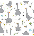 cute goose seamless pattern cartoon hand drawn vector image vector image