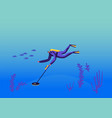 diver character in scuba diving costume research vector image