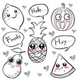 doodle of hand draw fruit character vector image vector image