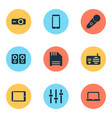 electronics icons set with radio mic floppy disk vector image vector image