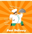 Fast delivery banner Chef in uniform with cloche vector image vector image