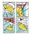 fishing poster set vector image vector image
