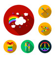 gay and lesbian flat icons in set collection for vector image