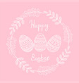 happy easter greeting card with floral elements vector image