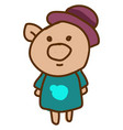 happy pig with hat on white background vector image